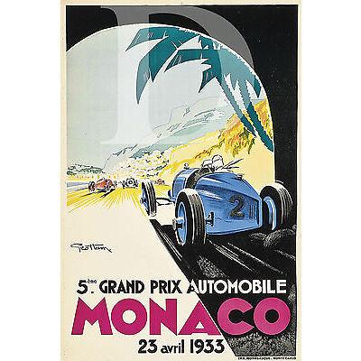 PLAQUE ALU REPRODUISANT UNE AFFICHE MONACO 5EME GP 23 AVRIL 1935 GRAND PRIX