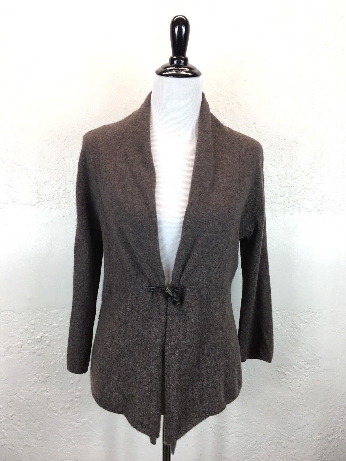 S13 Fenn Wright Manson Sz M 100% Cashmere Brown Toggle Cardigan Sweater 3 4