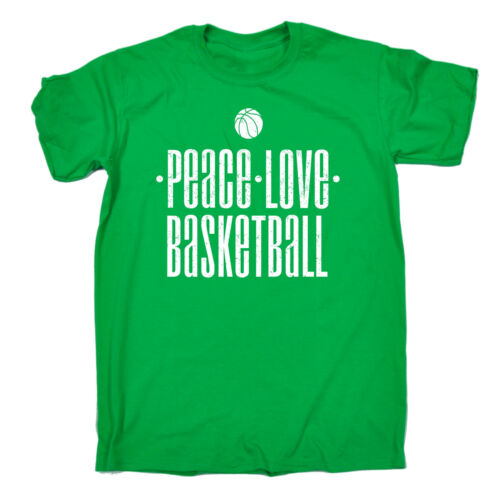 PEACE Love Basket Da Uomo T Shirt Compleanno Bball Dunk Hoop Jersey Varsity Regalo