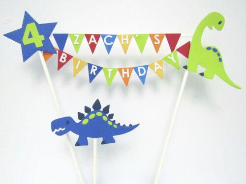 Handmade Personalised Cake Topper Birthday Bunting Dinosaur Cake Decoration