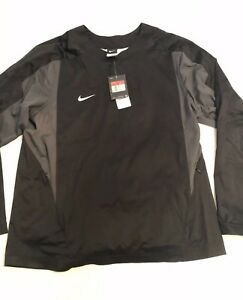 Nike-Men-039-s-Baseball-Vapor-L-S-708188-010-Black-Pullover-Windshirt-Jacket-SZ-L