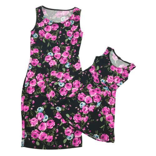 Mother and Daughter Casual Floral Stripe Dress Mom /& Kid Matching Set Outfit