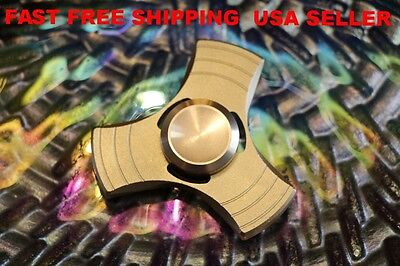 Baby Realistic Tri Aluminum Hand Spinner Fidget Desk Toy Edc For Kids Autism Adhd Gold Us Commodities Are Available Without Restriction Developmental Baby Toys