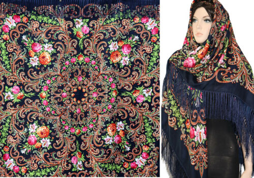 "Russian //Polish//Ukrainin Floral Shawl 80/% Wool Huge 154cm//61/""d.Blue   #peones4"