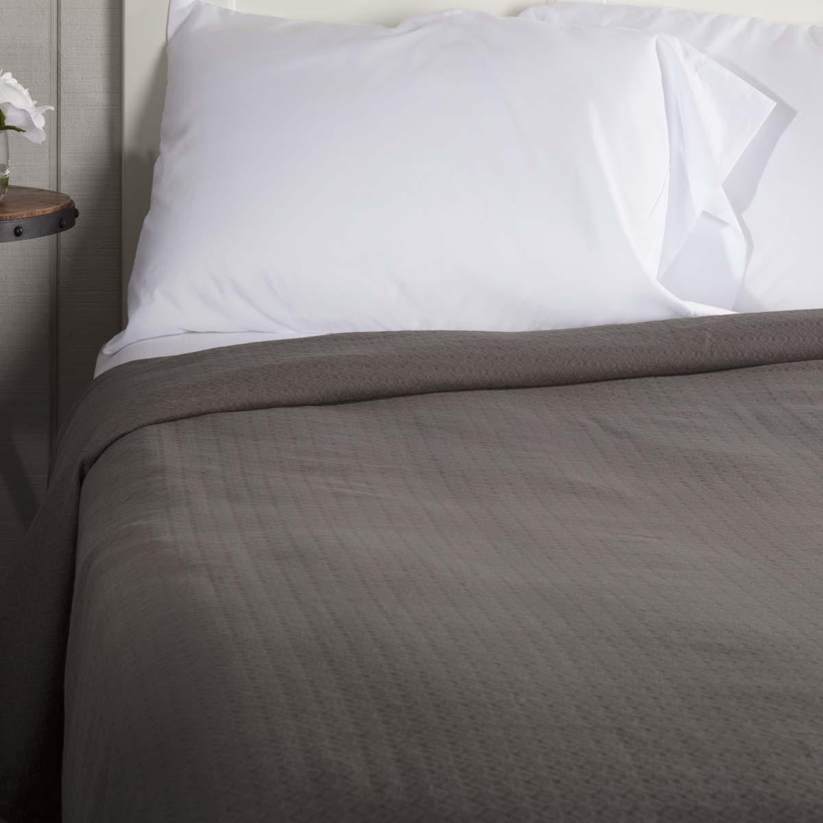 SERENITY grau King Cotton Woven Blanket Coverlet Farmhouse Bedding VHC Brands