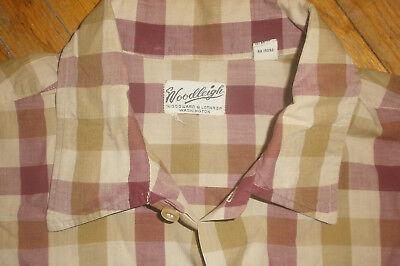 Bellissimo Vintage Anni 50 '60 Woodleigh Camicia Quadri Burgundy Senape Mod Atomico