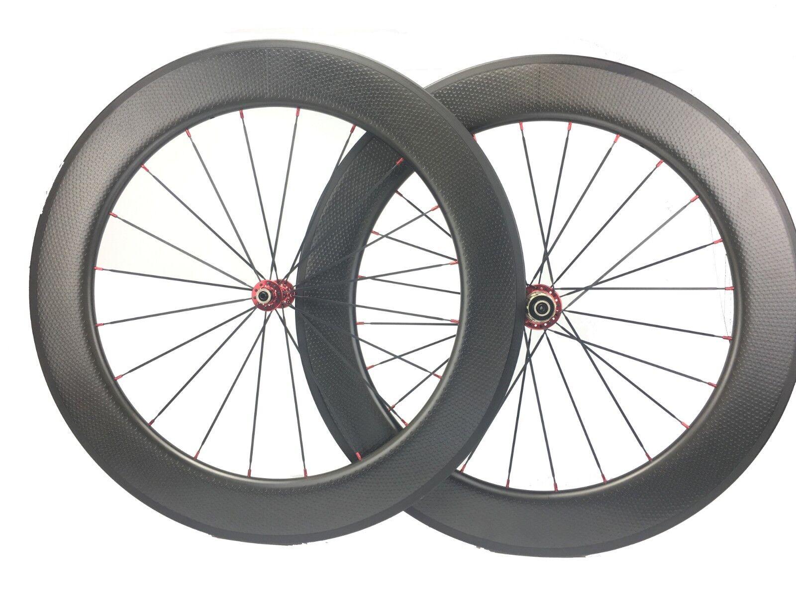 80mm  Dimple Carbon Wheels 700C Carbon Road Bike Wheel 1420 424 Aero Spokes 700C