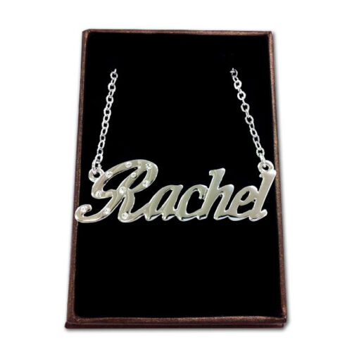 White Gold Plated Name Necklace RACHEL Bridesmaid Love Gift Idea For Her