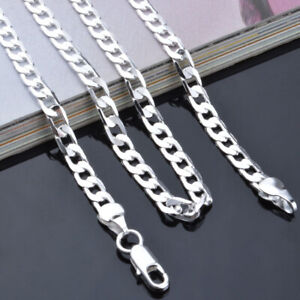 925-Sterling-Solid-Silver-Cuban-Chain-Necklace-For-Men-Jewelry-Gifts-4mm-16-24-034