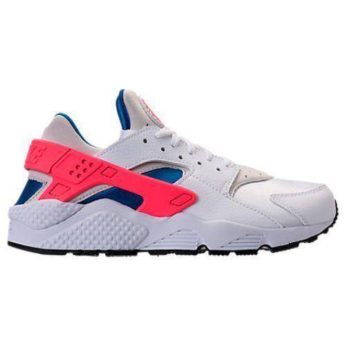 New Nike Men's Air Huarache Shoes (318429-112) White/Ultramarine-Solar Red-Black