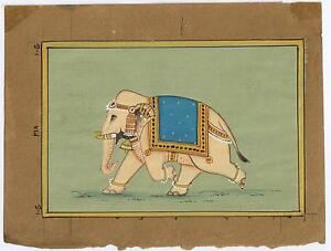 Elephant-Painting-Water-Color-Hand-Painted-Miniature-Old-Paper-Painting-Ethnic