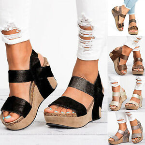 bc766aac87 Women's Wedge High Heels Gladiator Sandals Open Toes Casual Cork ...