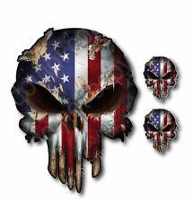 3x Punisher Skull American Usa Flag 3m Decal Sticker Car Truck Bumper Patriotic