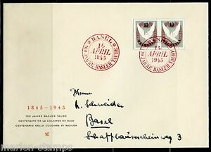 SWITZERLAND-MICHEL-BL12-IMPERF-PAIR-FROM-BASEL-DOVE-S-S-FIRST-DAY-COVER-TO-BASEL