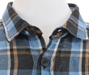 ASOS-Mens-Heavy-Weight-Work-Shirt-Button-Down-Up-Front-Plaid-Blue-Sz-XL