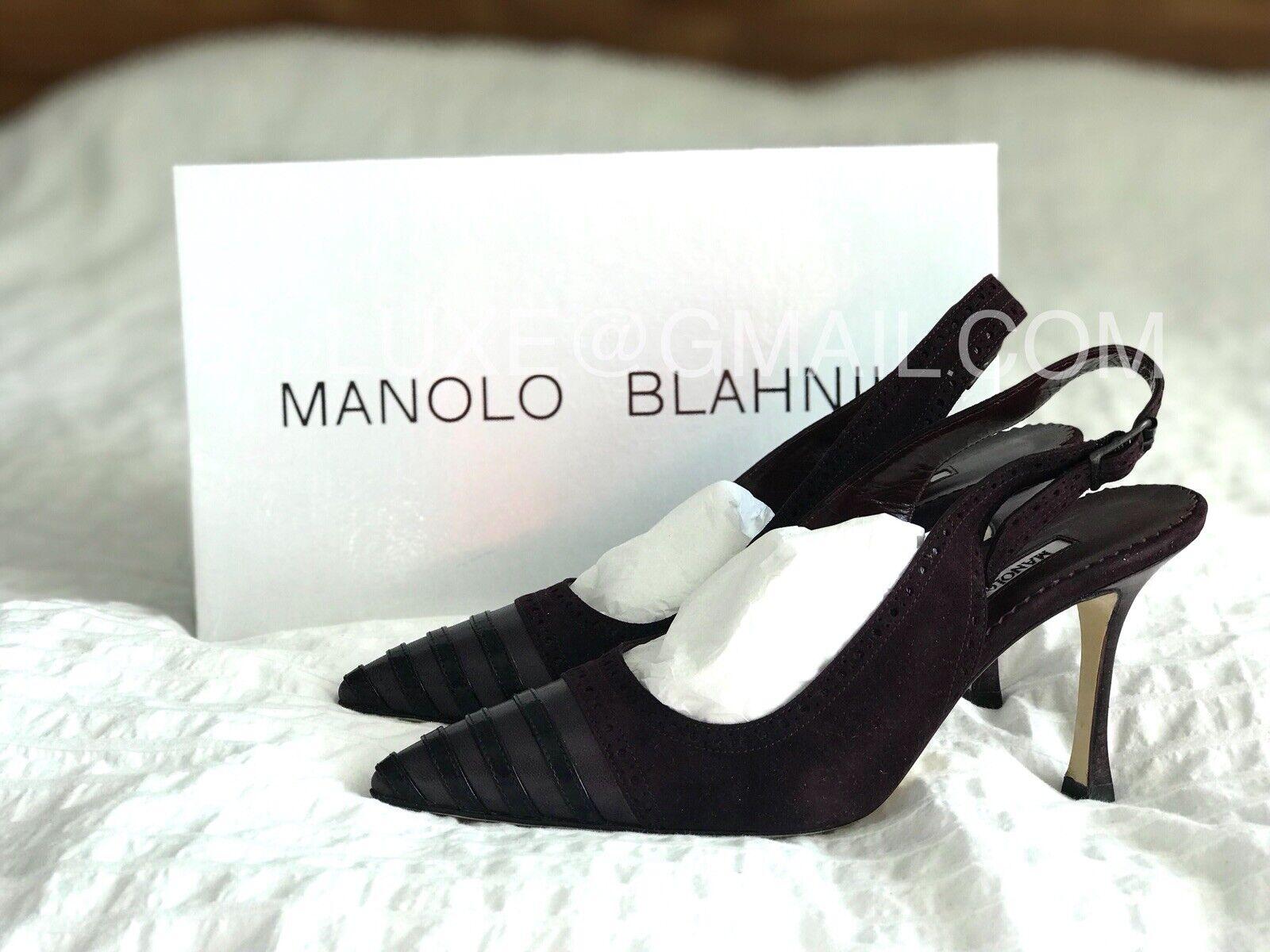 MANOLO BLAHNIK Annunziata Calf Plum Suede Camoscio Pumps Heels 36.5 6.5 BNIB