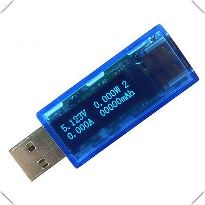 4IN1 OLED USB Charger Capacity power Current Voltage Detector Tester Meter blue