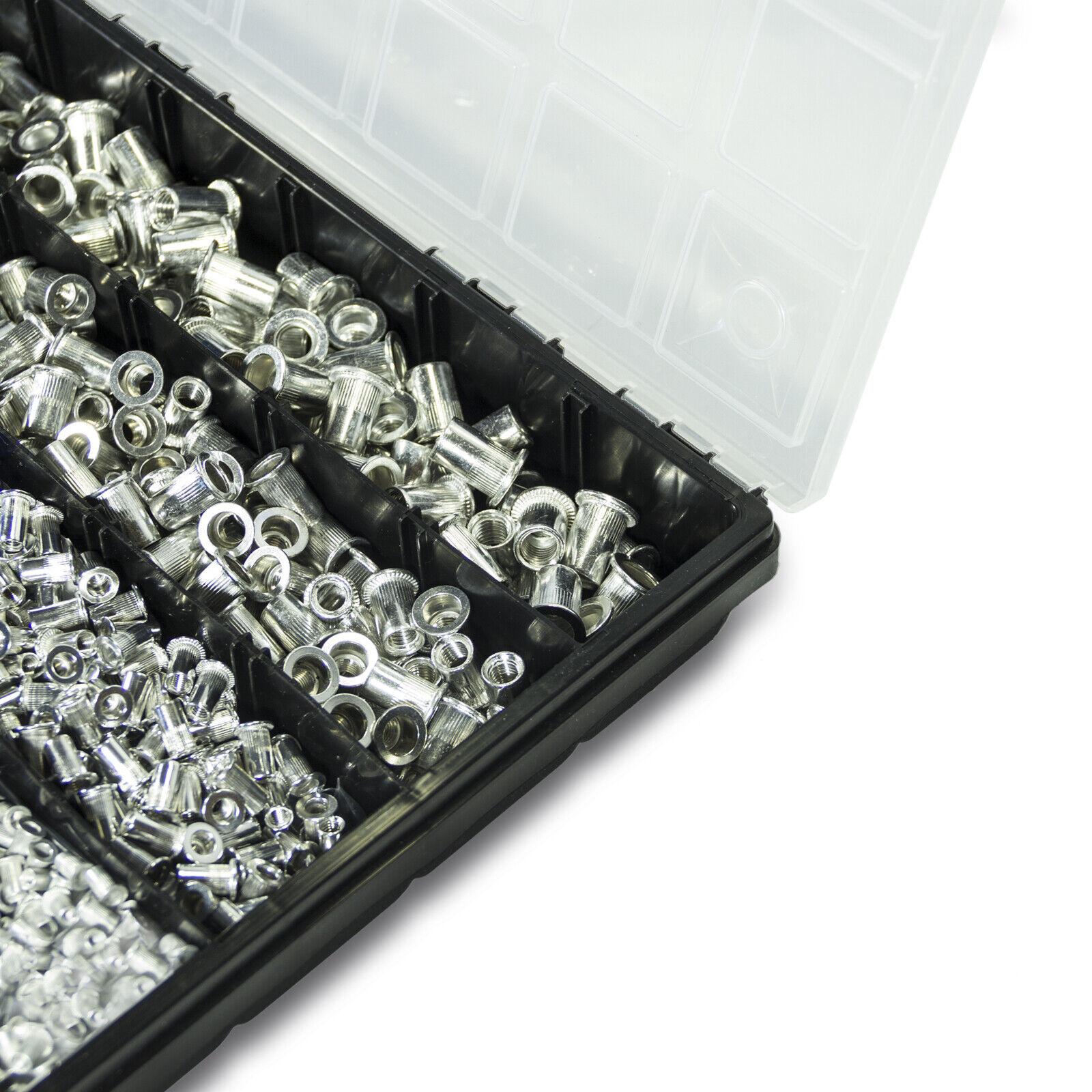MorNon 300-tlg Stahl Nietmutter-Sortiment Box Blindnietmuttern Satz Einnietmuttern Set f/ür Holzm/öbel Gewindeeins/ätze