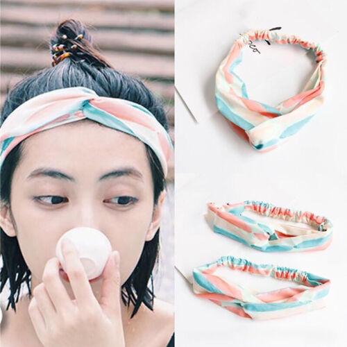 Women Korean Style Striped Hair Bands Headbands  Cross Bandana Head Wrap LD