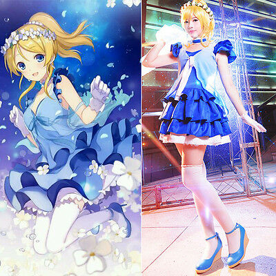 Love Live Eli Ayase Chiffon Tee Dress Uniform Anime Cosplay Costumes Whole Set