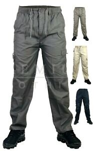 New-Mens-Elasticated-Trousers-Cargo-Combat-Lightweight-Work-Pant-Bottoms-Trouser