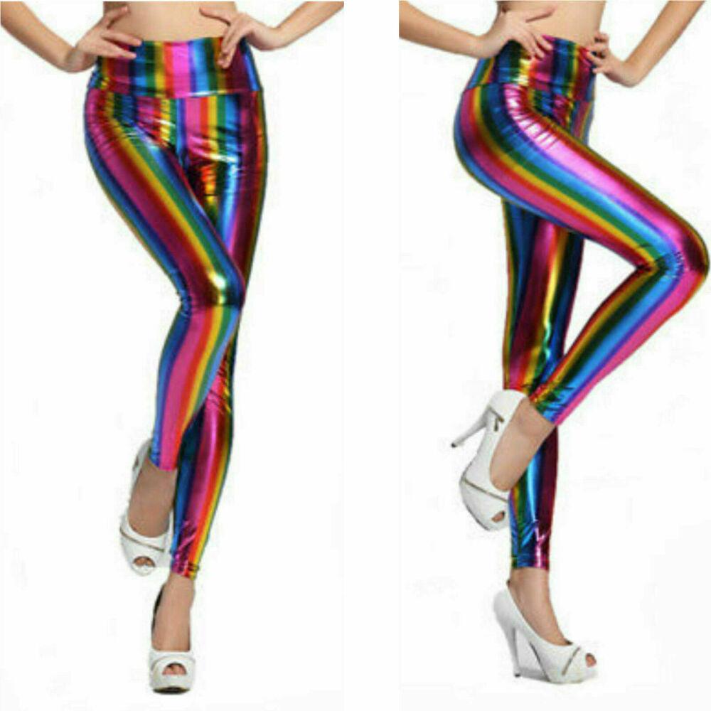 Femmes Arc-en-leggings Pour Femme En Cuir Synthétique Brillant Métallisé Costume Pantalon Uk 8-22