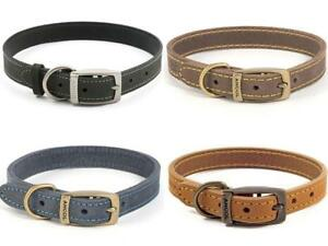 Ancol-Timberwolf-Leather-Dog-Collars-amp-Leads-All-Sizes