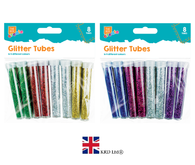 10x GLITTER TUBES Kids Children/'s Multi Colour Craft Arts Crafts Xmas O317525 UK