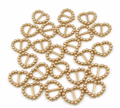 50 PEARLISED HEART SHAPED RIBBON SLIDER BUCKLES GOLD FOR WEDDING INVITES