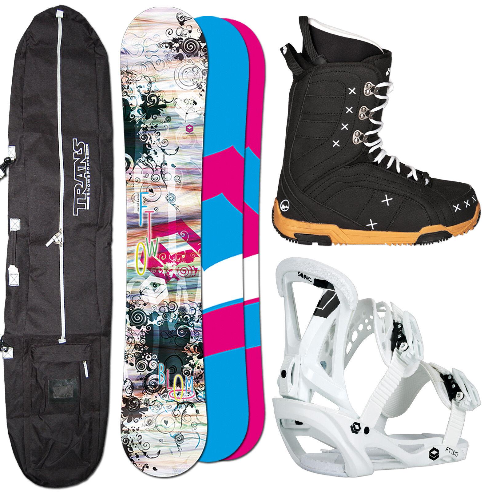 Snowboard Mujer Set Ftwo Bloom 151 cm + Sonic Fijación TALLA M + botas + Bolsa
