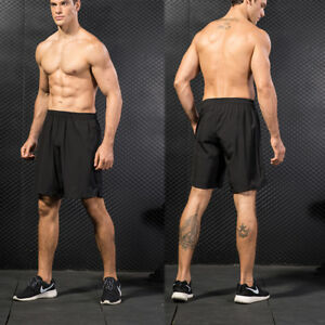 Men-039-s-Workout-Running-Basketball-Shorts-with-Pockets-Spandex-Gym-Plain-Bottoms