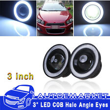 "3.0"" LED Fog Light Projector White Angel Eye COB Halo Ring DRL Driving Bulbs USA"