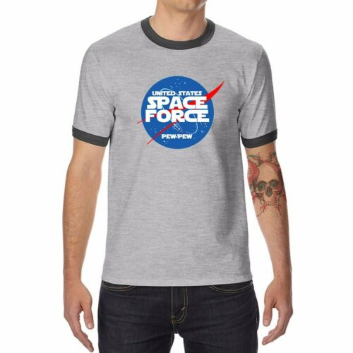 Funny Space Force Men/'s T-Shirts Ringer Short Sleeve Cotton Summer Cool Tops Tee