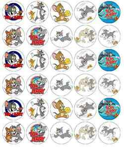 30 x Tom And Jerry Cupcake Toppers Edible Wafer Paper Fairy Cake