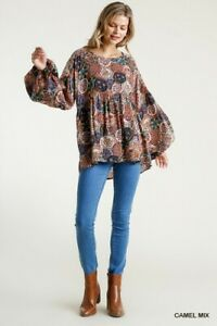 Umgee-Floral-Bohemian-Print-Long-Puff-Sleeve-Top-Size-Small