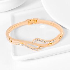 Women-039-s-Wristband-Bangle-Chain-Bracelet-Gold-Austrian-Crystal-Cuff-Charm-Jewelry