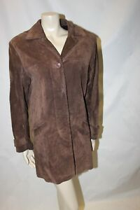 Ladies-Brown-Suede-Leather-Coat-Size-10-Principles-Jacket