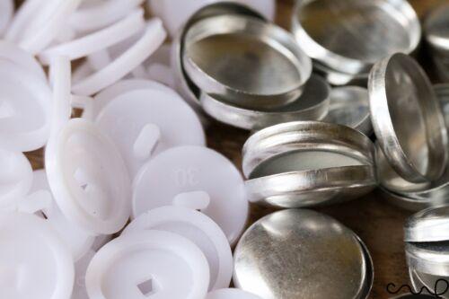 30L ébauches de boutons housse non astro ensembles en métal blanc plastique 19mm ameublement sew