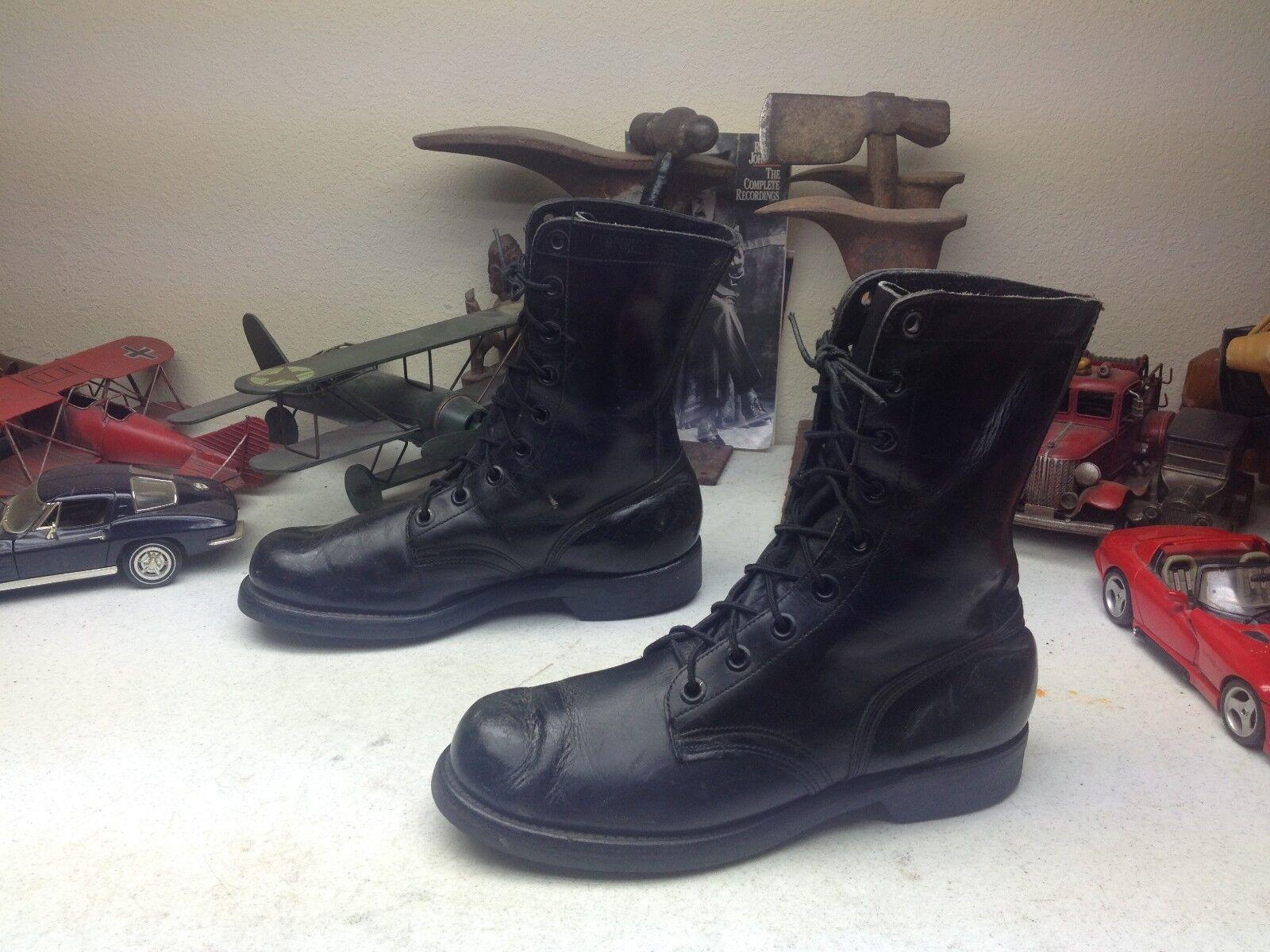 1967 Vintage ENDICOTT JOHNSON militar EE. UU. Negro Cuero Con Cordones botas De Combate 9R