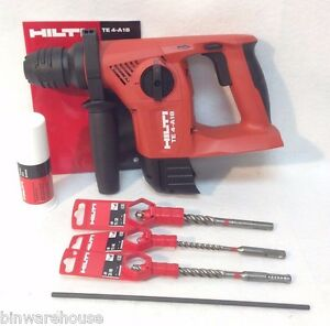 new hilti te 4 a18 18v cordless rotary hammer drill sds tool only bits. Black Bedroom Furniture Sets. Home Design Ideas