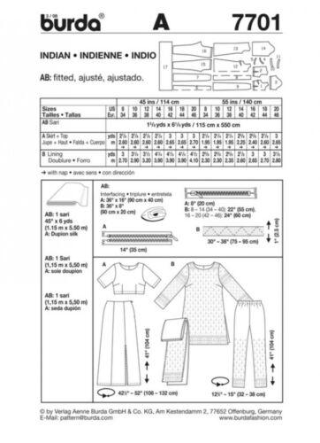 Burda Ladies Sewing Pattern 7701 Indian Style Sari Outfit ... Free UK P/&P