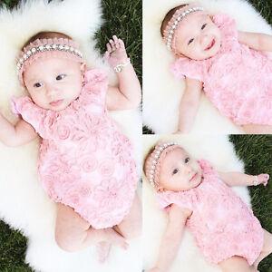 La imagen se está cargando Rosa-Recien-Nacido-Bebe-Nina-Encaje-Flor-Body- b73b19f1d04