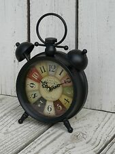 French country metal multicolored round table clock  Cafe De La Tour home decor