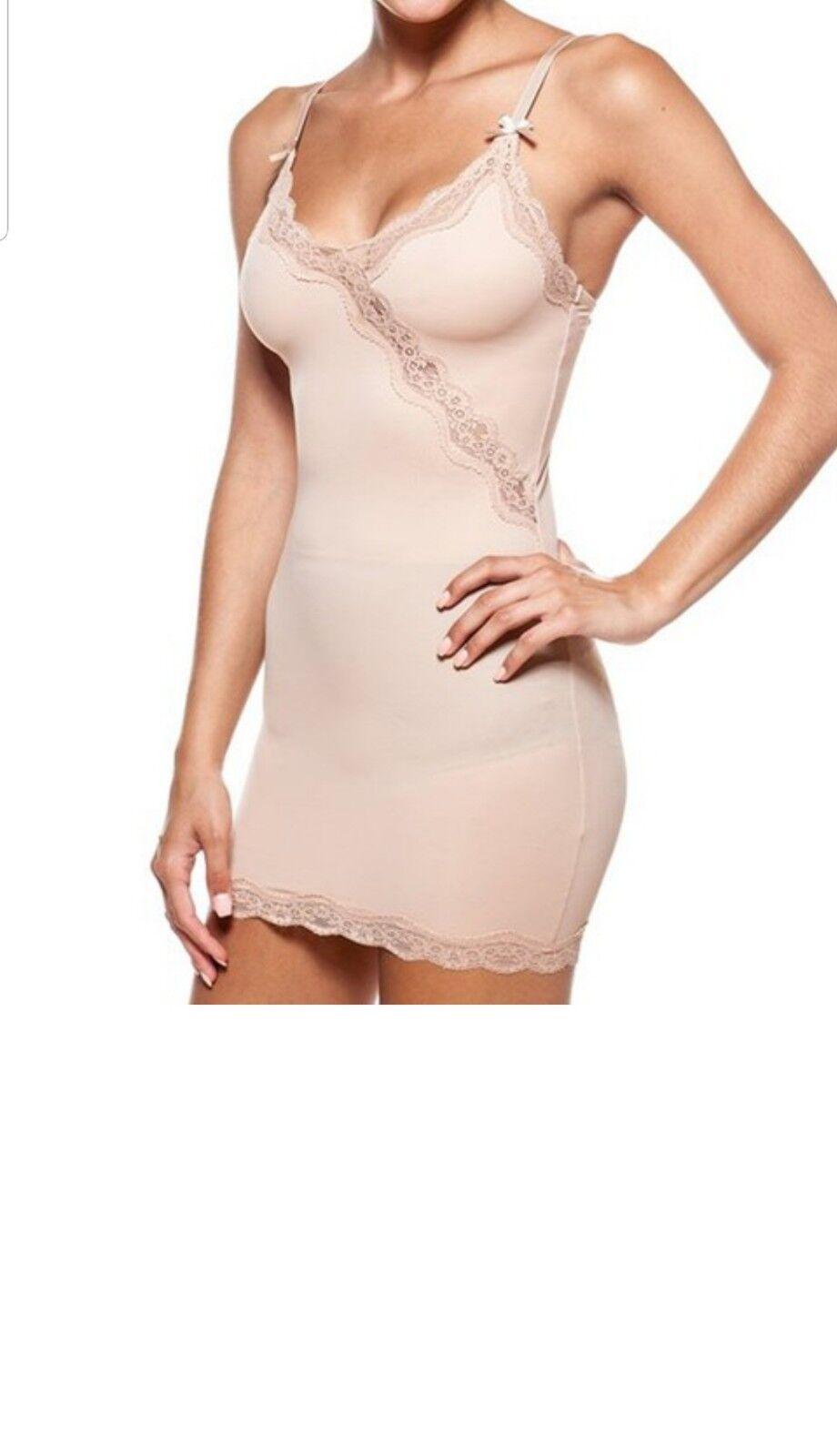 27297f291b26 Body Beautiful Nude Lace-Trim Moderate Compression Shaper Slip Sz 3X NEW