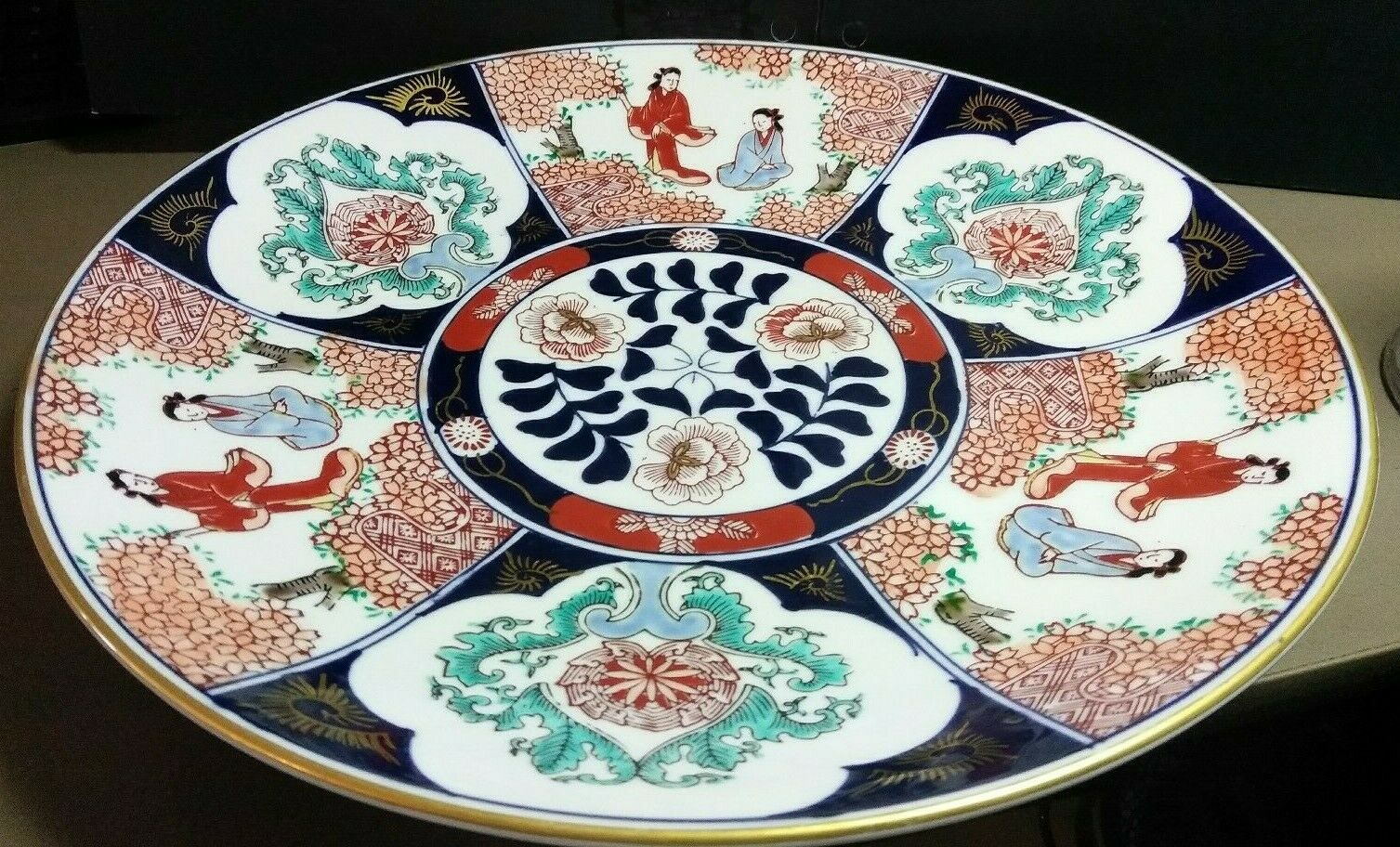 Old Imari Hand Painted Serving Platter wall hanging Japan Geisha cherry blossom