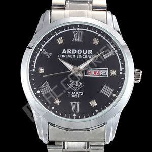 Luxury-Sport-Mens-Man-Stainless-Steel-Date-Quartz-Analog-Black-Dial-Wrist-Watch