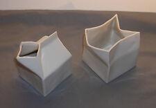 Vintage Apple Pie Company Modernist White Ceramic Carton Motif Creamer & Sugar