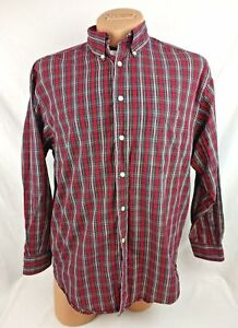 Roundtree & Yorke Men Green Red Plaid Shirt Long Sleeve Size Extra Large XL