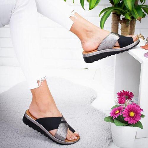 Damen Glitzer Keilabsatz Hausschuhe Pantoletten Zehentrenner Sandalen Slipper 42