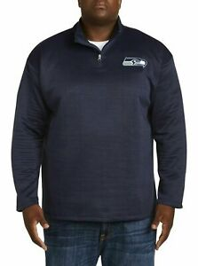 Majestic-Seattle-Seahawks-NFL-1-4-Zip-Pullover-Navy-Big-amp-Tall-Sizes